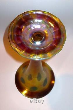 Large & Impressive Tiffany Favrile Decorated Iridescent Art Glass Vase withVines