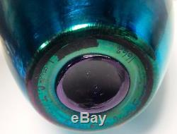 Large L. C. Tiffany Favrile Blue Classical Iridescent Vase