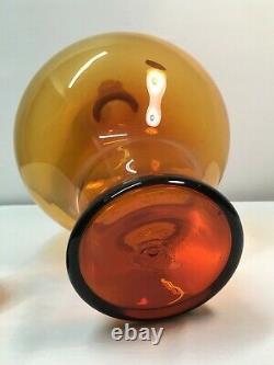 Large Mid Century Modern Dark Amber Myers Blenko Decanter. Art Glass