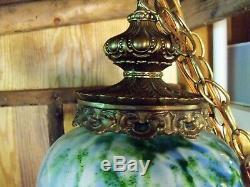 Large & Rare Fenton Vasa Murrhina Aventurine Green With Blue Hanging Light Lamp