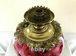Large Vintage Fenton Cranberry Coin Dot Banquet Parlor Lamp Triple Globe 34