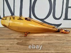Large Vtg Blenko Amberina Glass Open Mouth Fish 22 MCM Hand Blown Vase