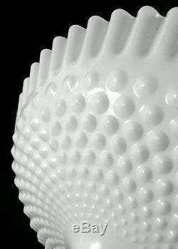 Large vintage mid-century Fenton hobnail milk glass compote 11.5 inches