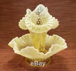 Lg 9.5 Fenton Vaseline Diamond Hobnail Epergne Opalescent Topaz Yellow 3 Horn