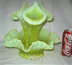 Lg. Antique Fenton Vaseline Opalescent Hobnail Topaz Glass Flower Bowl Epergne