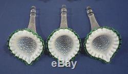 Lg Fenton Hobnail Opalescent Glass Epergne 3 Horn Trumpet Flower Vase Green Trim