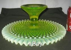 Lg Fenton USA Vaseline Topaz Hobnail Art Glass Cake Pedestal Plate Dessert Stand