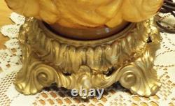 Limited Edition Fenton Art Glass Honey Amber Embossed Puffy Rose Lamp #2 GTC