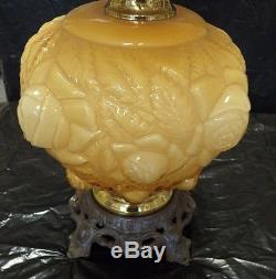 Limited Edition Fenton Art Glass Honey Amber Embossed Puffy Rose Lamp GTC