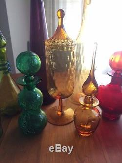 Lot of 11 8 Vintage Rainbow 1960s Art Glass Decanters + 3 others unknown brand