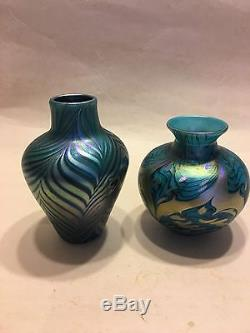 Lot of 2 Lundberg Studios, 1975, Pulled feather Blue iridescent Art Glass Vases
