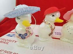 Lot of Hand Painted Fenton Duck Figurines signed with Hats Rare 3 rare (Jl)