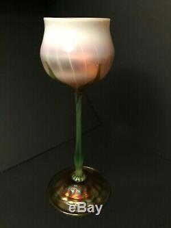 Louis Comfort Tiffany Favrile Floriform Art Glass Vase 11 Tall