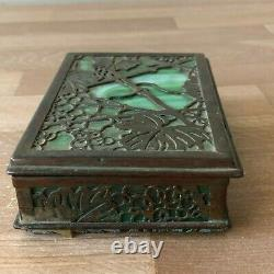 Lovely L C Tiffany Studios Bronze & Glass Grapevine Box, as is