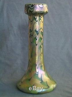 Lrg Antique Art Nouveau Trevaise Iridescent Glass Vase tiffany favrile sandwich
