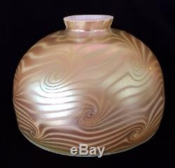 Lundberg Studios 1984 7 Gold King Tut Dome Lamp Shade Decorated Art Glass NR