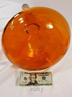 MCM Blenko Glass Floor Decanter Genie Bottle 5815L 29.5 Tangerine Wayne Husted