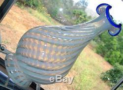 MINTVINTAGE30'sFENTON GLASSBLUE RIDGEOPALESCENTSPIRALV SRC10BOTTLE/VASE