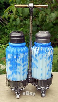 Mt. Washington Ribbed Pillar Salt & Pepper Shakers In Rogers Silver Plate Holder