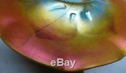 Massive & Rare Iridized 15 QUEZAL ART GLASS Jack-in-the-Pulpit Vase antique