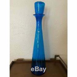 Massive Vintage Blenko #6138 Wayne Husted Blue Glass Floor Decanter 33 1/2
