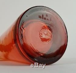 Mid Century Blenko Glass Vase Tangerine 5942 L Cylinder U Cut Vtg Orange