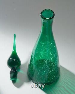 Mid Century Blenko/Pilgrim Winslow Anderson Genie Decanter Crackle Glass Bottle