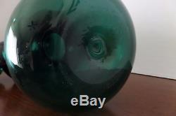Mid Century Modern Blenko Art Glass Gurgle / Banded Green / Decanter with Stopper