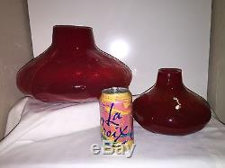 Mid Century Modern Hand Blown Red Fat Lava Ice Textured Glass Gourd Vases 1960s