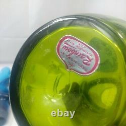 Mid Century Modern Rainbow Glass Company DuoTone Decanter withTwisted Stopper