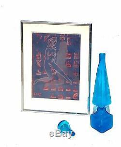 Mid Century Modern Rare Obelisk Blenko Jonquil Wayne Husted Blue Decanter