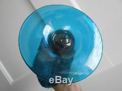 Mid Century Modern Wayne Husted for Stelvia Glass Blue Atomic Vase 13 Tall