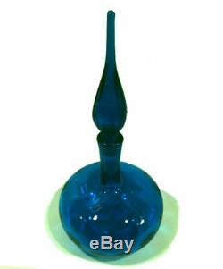 Mid Century Modern decanter. 1960's Blenko. Deep turquoise blue. 14 tall