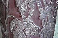 Monumental Consolidated Martele' Blackberry Vase, Rare Purple Wash, Circa 1930