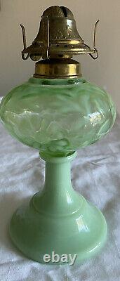 Mosser Jadeite Green Opalescent Fenton Style Fern & Daisy Oil Kerosene Lamp