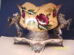 Mt. Washington Brides Bowl Floral Decorated Basket with Standing Lions