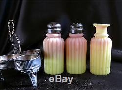 Mt. Washington Burmese Glass 3-Pc Condiment Set Salt-Pepper-Cruet in SP Frame