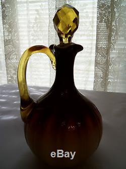 Mt Washington Plated Amberina Glass Cruet/Wheeling Peachblow