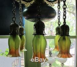 Museum-Quality QUEZAL Art Nouveau 7-Shade Ceiling Lamp c. 1904 antique glass
