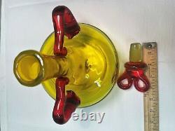 Myers Blenko Yellow Decanter with Tangerine Red Handles. Mid Century Art Glass MCM
