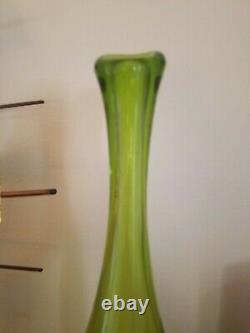 Myers Green Blenko Bottle Vase. Tall Art Glass Decanter Very Nice
