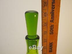 Myers Tall Olive Green Blenko Art Glass Decanter 6426 RARE