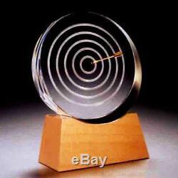 NEW in BOX STEUBEN art glass 18K GOLD ARROW TARGET crystal bulls eye bow & base