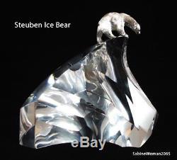 NEW in RED BOX STEUBEN art glass ARCTIC BEAR Sterling JAMES HOUSTON polar star