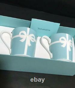 New Tiffany & Co Blue Ribbon Porcelain Pair Mug Cup Set Gift Box Limited Japan