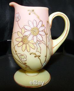 Nice Antique MT WASHINGTON QUEEN'S Pattern BURMESE Glass Small Footed PITCHER