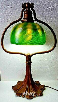 Original Rare Tiffany Studios Harp Desk Lamp With LCT Favrile Damascene Shade