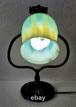 Original Tiffany Studios Harp Desk Lamp with LCT Favrile Pulled Feather Shade
