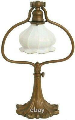 Original Tiffany Studios Lamp Harp Base with Steuben Shade