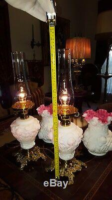 PAIR Fenton L. G. Wright Lamps Satin Glass Puffy Rose Peach Blow Cased Wild Rose